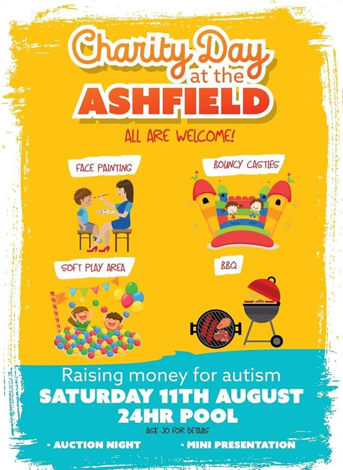 Charity day for Autism 1pm sat 11th Aug 2018 theashfield.co.uk